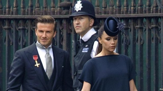 David Beckham ad his wife Victoria Beckham at the Royal Wedding, 29 April 2011