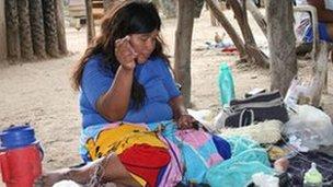Ayoreo woman sewing
