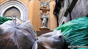 A pile of uncollected rubbish in Via dei Tribunali on May 2, 2011 in Naples, Italy