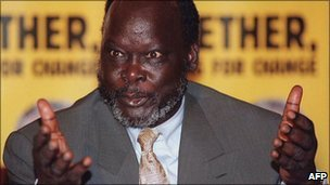 John Garang at a press conference (archive)