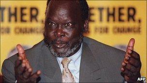 John Garang at a press conference (archive)