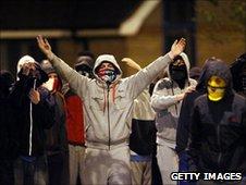 Masked Catholic youths in Belfast