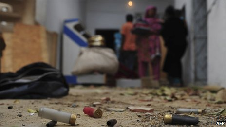 Empty cartridge shells in a violence-hit Karachi neighbourhood