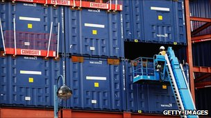 Containers at shipping port