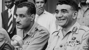 Muhammad Naguib (R) with Gamal Abdul Nasser in Cairo, 15 August 1953