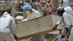 Mortuary workers transport a coffin to be buried along with other unidentified bodies found recently in mass burials, at the cemetery Valle de los Sabinos in Durango 3 June, 2011.
