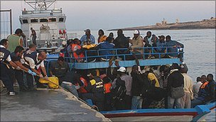 African migrants arriving in Lampedusa