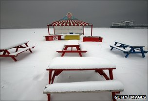 Snow on the beach at Weston-Super-Mare