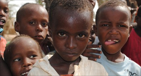 Children in the Tawikal camp for internally displaced people in Bosasi, Somalia