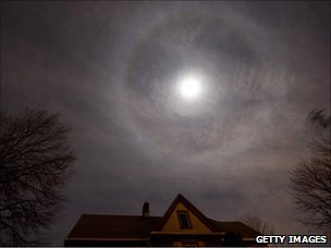 Lunar halo - ring of light - above a house