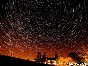 Star trails in Cumbria, photo by Neil Maughan