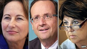 Segolene Royal, Francois Hollande, Martine Aubry