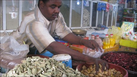 A shopkeeper in Khartoum