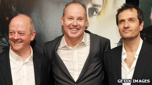David Barron, David Yates and David Heyman attend the New York premiere of Harry Potter And The Deathly Hallows: Part 2
