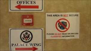 Signs warning against classified conversations in non-secure areas