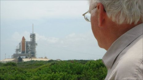 David Le Conte with the space shuttle launchpad in the background