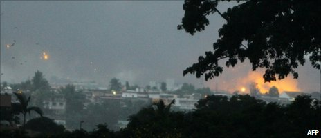 Photo taken on 4 April 2011 in Abidjan shows fire and smoke billowing from the Akouedo military camp