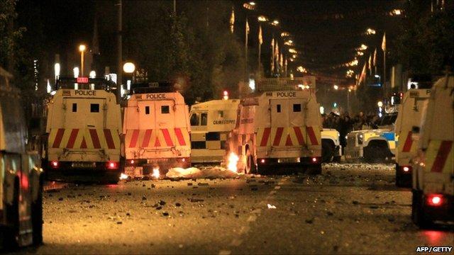 PSNI vehicles in riot