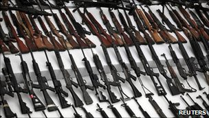 Weapons seized by Mexican authorities in Mexico City