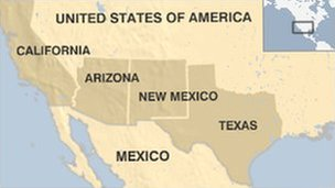 A map of Texas, New Mexico, Arizona and California