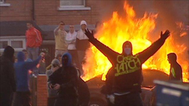 Rioters in Belfast
