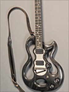 The custom-made polycarbonate Handle guitar