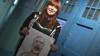 Jessica with the design of her new Doctor Who monster, the Screamer