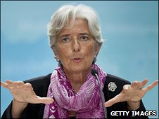 Christine Lagarde gives her first briefing as head of the IMF in Washington DC on 6 July 2011