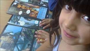 Jordanian girl reading a comic