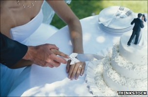 Couple cutting a wedding cake