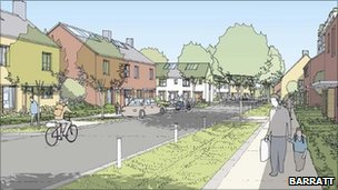 Artist's impression of new development at Trumpington Meadows, Cambridge