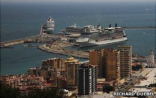 Cruise ship in Malaga harbour