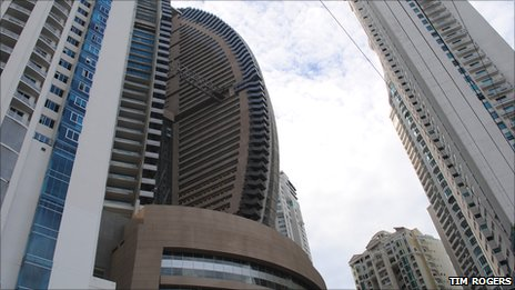 The Trump Ocean Club (the brown building in the middle) is one of more than half a dozen skyscrapers occupying a small residential cul-de-sac on Panama's Punta Pacifica