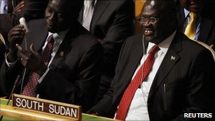 South Sudan&#039;s Vice President Riek Machar smiles with delegates after the United Nations General Assembly voted on South Sudan&#039;s membership to the United Nations at the UN. headquarters in New York July 14, 2011