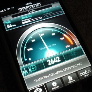 Speed test on iPhone