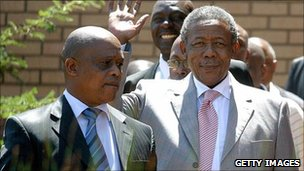 Ex-police chief Jackie Selebi waves his and (archive shot)