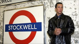 Alex Pereira, a cousin of Jean Charles de Menezes, at Stockwell Tube station Sunday July 24, 2005