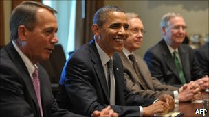 President Barack Obama (right) with congressional leaders in the White House on 14 July 2011