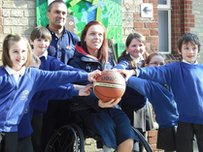 Students from Edlesborough with GB Wheelchair Basketball player Judith Hamer