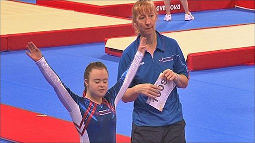 Young gymnast competes at the Special Olympics