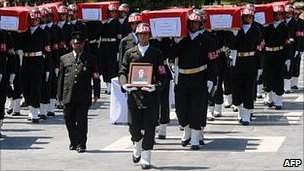 Coffins of Turkish soldiers killed in Kurdish rebel ambush