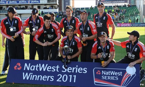England celebrate with the one-day series trophy