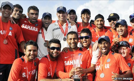India celebrate with the Test series trophy