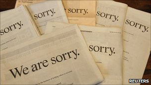 Printed apologies in Saturday's papers