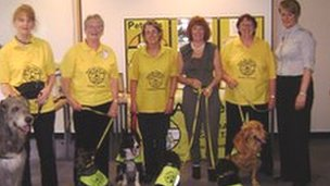 Left to right: Elaine Mercer-Jones with Finlay, Anne Jones with JJ , Sally Moorhouse with Twix, Pauline Fleming with her cavalier king charges spaniels Doris and Aubrey , Eileen Slattery with Cosmo, and Dawn Cooper of Betsi Cadwaladr University Health Board