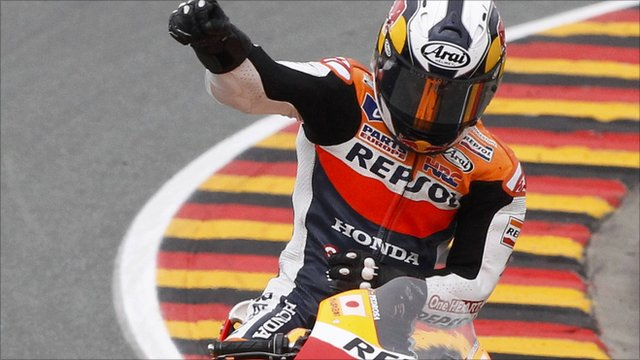 Dani Pedrosa celebrates after winning the German MotoGP