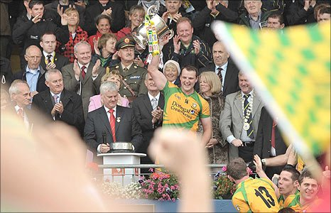 Donegal captain Michael Murphy lifts the Anglo-Celt Cup