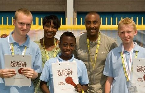 School Reporters pose with BBC commentators Denise Lewis and Colin Jackson