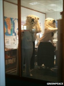 Greenpeace activists dressed as polar bears inside Cairn's offices