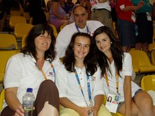Jemma's family watch from the stands in Athens.
